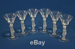 Set of 6 Vintage Bayel France Bacchus Nude Frosted Crystal Wine Stem Glasses
