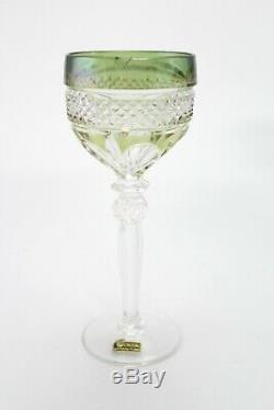 Set of 6 Vintage Cut Crystal Colored Wine Goblets 7.9inch E/0103