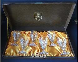Set of 6 Vintage Edinburgh Crystal Wine Glasses in Presentation Case