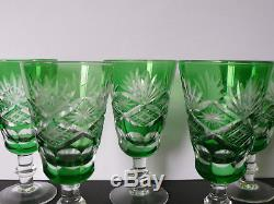 Set of 6 Vintage Emeral Green Cut to Clear Crystal Wine Glasses