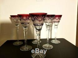 Set of (6) Vintage Ruby Cut to Clear Crystal Champagne Wine Flutes