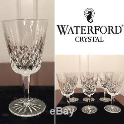 Set of 6 Vintage WATERFORD CRYSTAL Lismore Tall 10 oz Water Wine Glasses Goblets