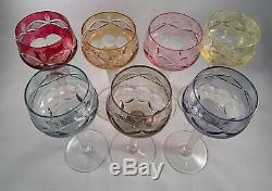 Set of 7 Vintage 6 oz. Bohemian Cut-to-Clear Crystal Wine Glass 7 Colors