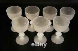 Set of 7 Vintage Portieux Vallerysthal White Opaline Wine Glasses French