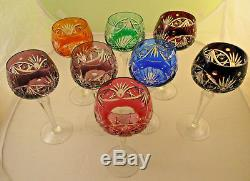 Set of 8 German Crystal Wine Glasses Cut to Clear- NACHTMANN #RS2