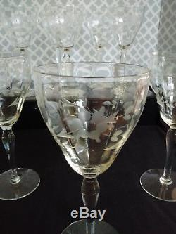Set of 8 Optic Gray Cut Floral Crystal Red Wine Glasses Goblets Vintage 1950/60s