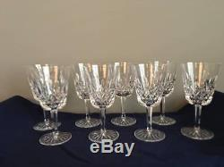 Set of 8 Vintage WATERFORD CRYSTAL Lismore Tall 10 oz Water Wine Glasses Goblets