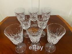 Set of 8 Vintage WATERFORD CRYSTAL Lismore Water Wine Goblets Glasses 6-7/8