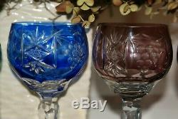Set of Five (5) Vintage Cut-to-Clear Bohemian Wine Glasses