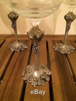 Set of five Vintage Crystal Wine Glasses Pewter Stems Grape and Leaf Motif