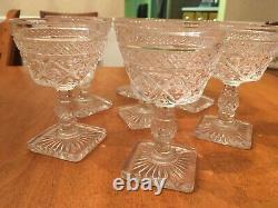 Seven Vintage Wine Glasses / Goblets with Square Base