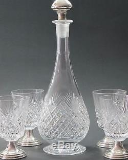 Signed hawkes Cut glass wine decanter 4 piece, sterling glass stems Hand cut