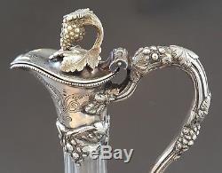 Silver plate & clear glass vintage Art Nouveau antique claret wine jug decanter