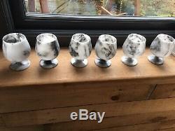 Six Original Vintage Real Marble Goblets Wine Glasses