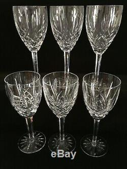 Six Vintage Waterford Crystal Araglin Large Wine Goblets