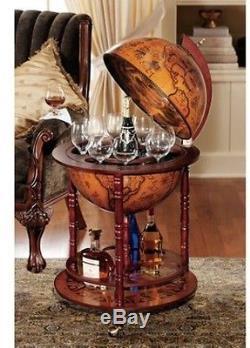 Sixteenth-Century Italian Replica Old World Vintage Globe Bar Wine Glass Bottle