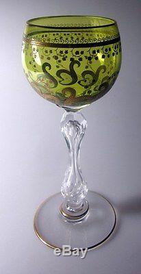 St Louis France Vintage Green Gold Gilded Wines (SET OF 4)