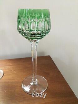 St Saint Louis Crystal MANHATTAN Vintage Wine Goblets, Green, Set of 4