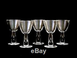 Steuben Crystal #7980 Teardrop Wine Glasses Vintage Set of 5