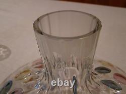 Stunning Unique VTG Decanter & 6 Glass Set Color Bubble Glass Brandy Wine Liquor