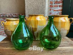 TWO Vintage European Green Glass Demijohn Carboy Wine Jug Italian Villani PAIR