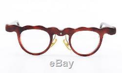 Theo Belgium Glasses Dorant 7 Rare Designer Eye Frame Wine Red c1990 Vintage NOS