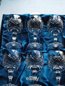 Thomas WEBB Crystal CHILTERN Wine Glass Set of 6, Boxed, Vintage