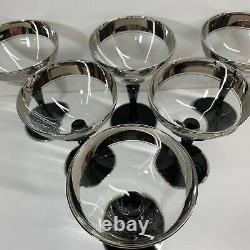 Tiffin Black Stem Depression Glass Vintage Champagne With Platinum Trim Set Of 6