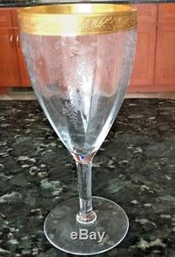 Tiffin Franciscan MELROSE GOLD 4 Wine Glasses Etched Crystal Gold Trim Vintage