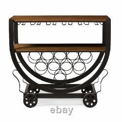 Triesta Vintage-Inspired Industrial Style Wheeled Wine Rack Bar Serving Cart