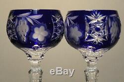 Two (2) Nachtmann Traube Bohemian Cut Tall Crystal Wine Hock Blue Grape Mint