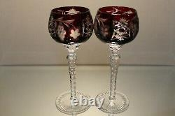 Two (2) Nachtmann Traube Bohemian Cut Tall Crystal Wine Hock Ruby Red Grape Mint