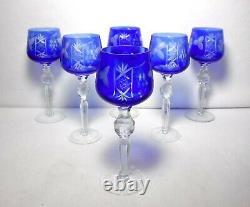 UNK2684 VINTAGE GRAPE Cobalt Blue pattern Set of 6 Hock Wine Goblets 8-3/8