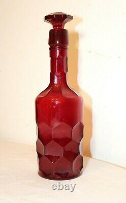 Unique rare vintage tall ruby red cranberry wine liquor glass decanter bottle