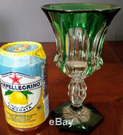 VAL ST LAMBERT Vintage Rare Green Cut to Clear Crystal Wine Goblet, Excellent