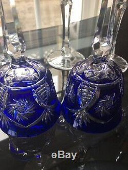 VINTAGE AJKA COBALT BLUE CUT TO CLEAR Wine GOBLET SET OF 6