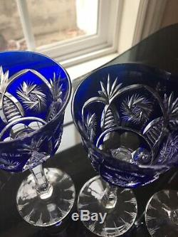 VINTAGE AJKA COBALT BLUE CUT TO CLEAR Wine GOBLET SET OF 6