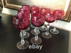 VINTAGE AJKA (Made in Hungary) GRAPE CUT TO CLEAR CRYSTAL WINE GOBLETS Set of 10