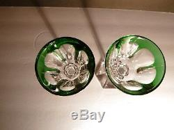 VINTAGE Baccarat Crystal HARCOURT (1841-) 2 Rhine Wines Emerald Green 7 3/8