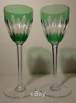 VINTAGE Baccarat Crystal LORRAINE (1953-1978) Set of 2 Green Rhine Wine 7 1/2