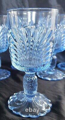 VINTAGE CAMBRIDGE CAPRICE MOONLIGHT BLUE WINE/WATER GobletS SET OF 6 (6) MINT