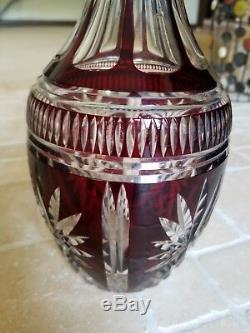 VINTAGE GLASS LEAD CRYSTAL RUBY RED CRANBERRY COLOR WINE DECANTER vase bottle
