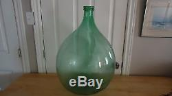 VINTAGE Large Green Glass DEMIJOHN WINE BOTTLE 5 GAL. 26 HIGH