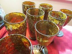 VINTAGE RARE 10 Moss Agate Neiman Marcus WATER Glasses (set of 8) WINE (2)