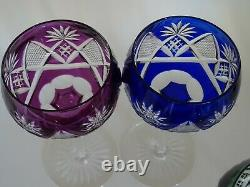 VINTAGE ROEMER 6 WINE GLASSES CRYSTAL VAL ST LAMBERT BERNCASTEL 6 colors