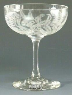 VINTAGE Wine Glass Set of 6 Fine & Delicate Fern Cut Champagne Saucers