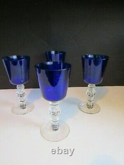VTG 1932 HEISEY Spanish Blue Stiegal Wide Optic Water Goblets Lg Wines SET OF 4