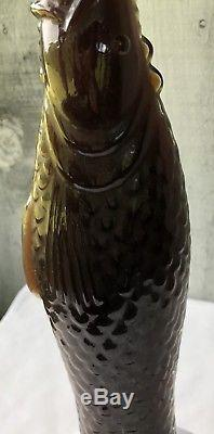 VTG 45 1987 Green Glass Wine FISH EATING FISH CHIANTI WINE BOTTLE with WINE