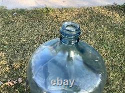 VTG 5 Gallon blue Glass tipping Drinking Water Bottle Jug Wine Beer iron stand