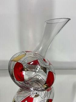 VTG. Crystal ROMANIAN 24k Stained Glass WINE DECANTER LIQUOR Barware